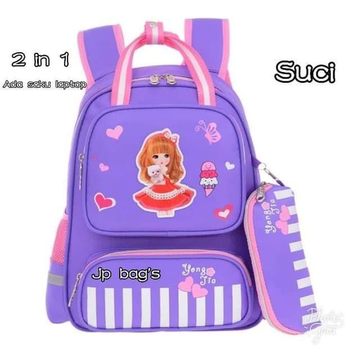 Pusat Grosir Tas Ransel Anak Sekolah SD Perempuan 2in1 Barbie Murah 2 Ungu   78f97221e2