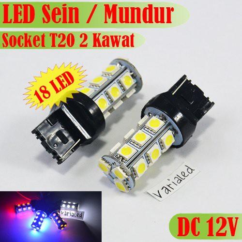 Lampu Led Sein    Mundur Mobil Single Socket T20 7440 18 Titik Smd 5050 Dc 12v Putih