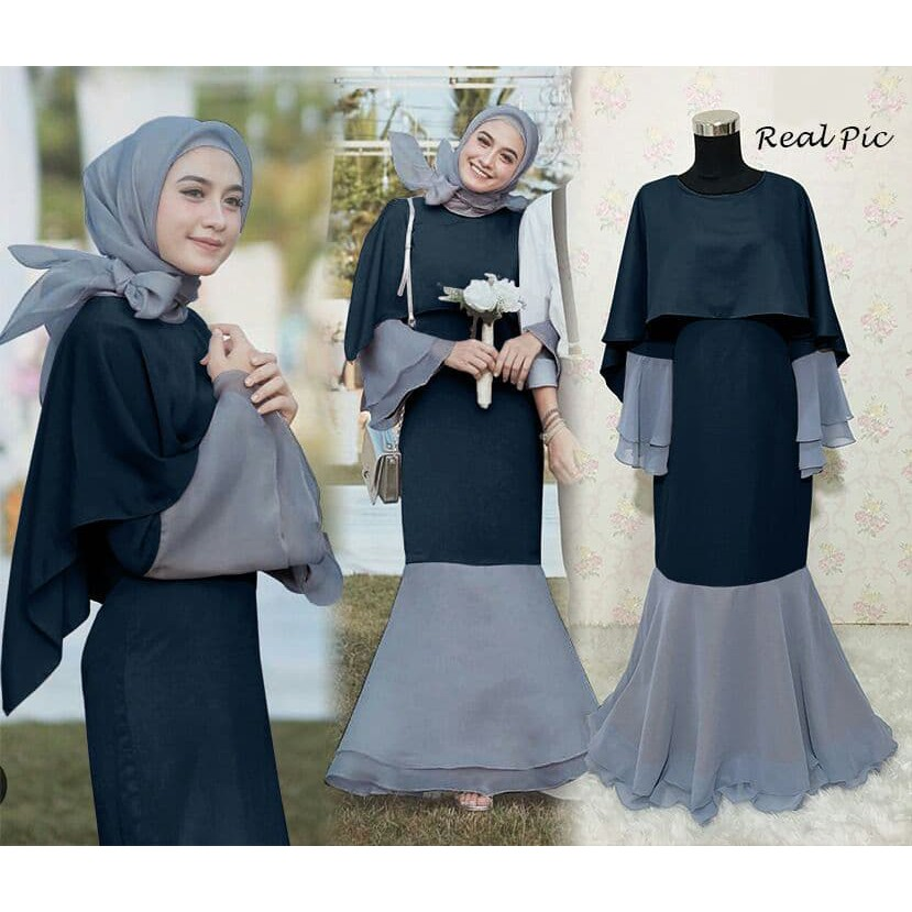 Baju Gamis Pesta Muslim Gaun Pesta Wisuda Mewah Rok Duyung Dewi