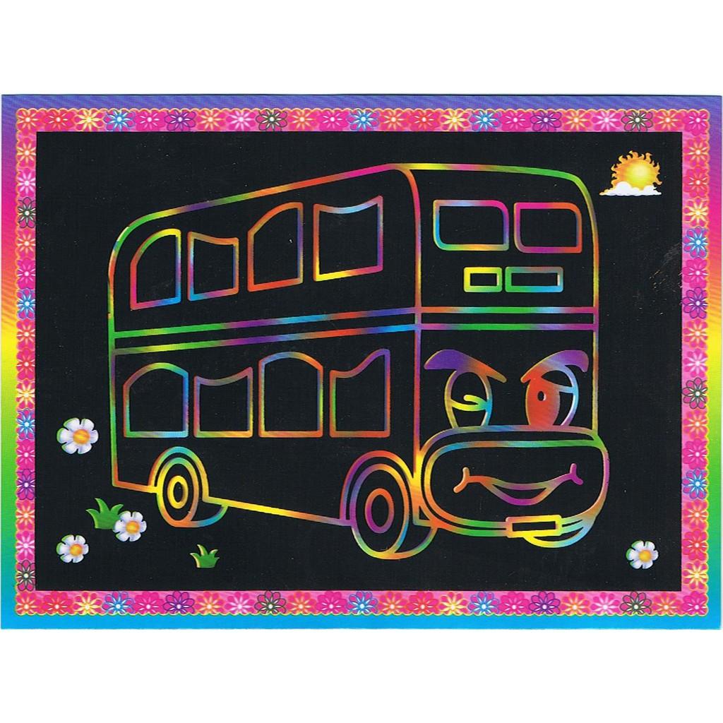 DS021 DIY Anak Gambar Gosok Scratch Picture Dan Mewarnai Bus Bis