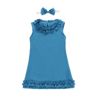 Set Dress Tutu Tanpa Lengan Warna Polos + Bandana untuk Bayi Perempuan