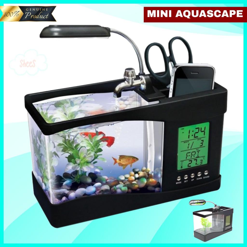 3 In 1 Akuarium Aquascape Aquarium Cupang Ikan Hias Mini Kaca Kecil Unik Minimalis Usb Full Set Shopee Indonesia