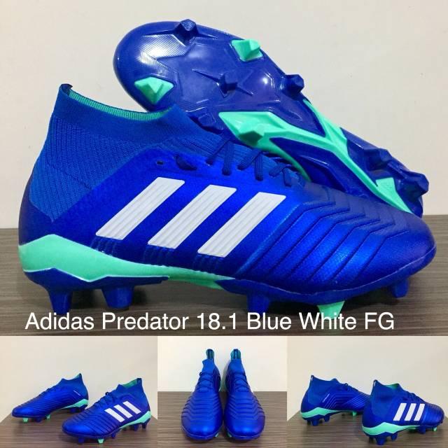Sepatu Bola Adidas Predator 18 1 Blue White Fg Shopee Indonesia