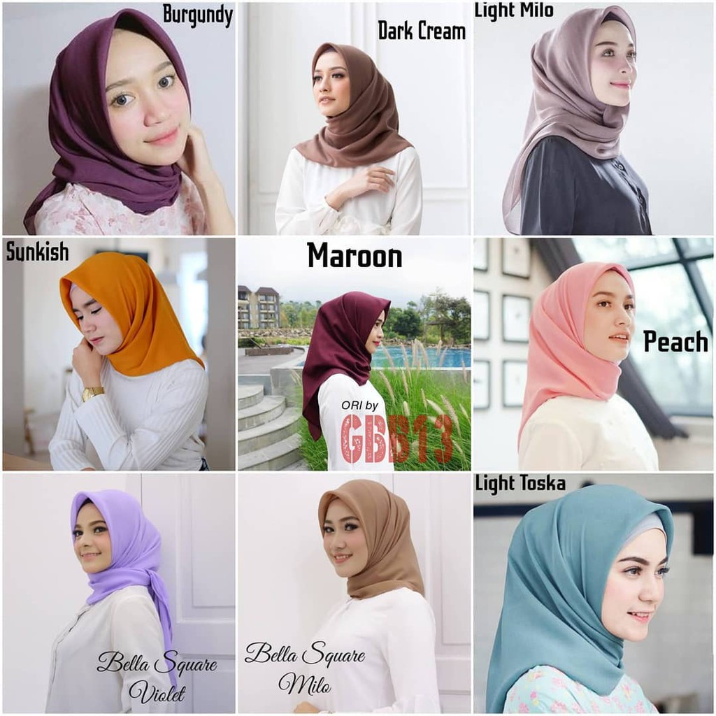 Hijab Segiempat Laudya Square Bella Square Doubell Hycon Shopee