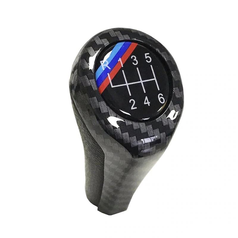 Shift knob Gear Shift Knob for BMW 1 3 5 6 Series E46 E53 E60 E61 E63 E65 E81 E82 E83 E87 E90 E91 E92 X1 X3 X5 M Chromed Matte Carbon Fiber Size : 6Speed Carbon M Line