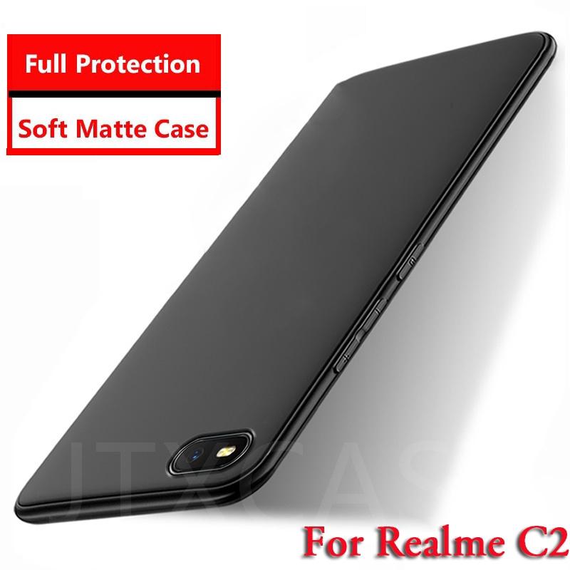 Realme C2 Casing Soft Case Silikon Matte Full Cover Warna Hitam