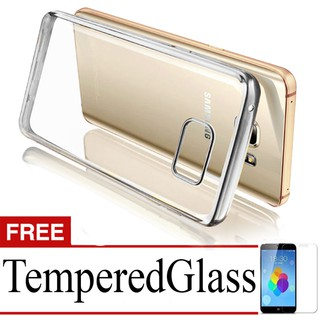 Best Seller Softcase Ultrathin List Chrome For Samsung Galaxy A3 (2016)+Free Tempered Glass-Silver