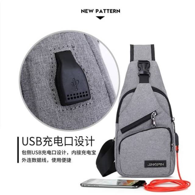 Tas Slempang / Selempang Anti Air Kanvas SPEN USB Sling Bag Canvas Vr2 | Shopee Indonesia