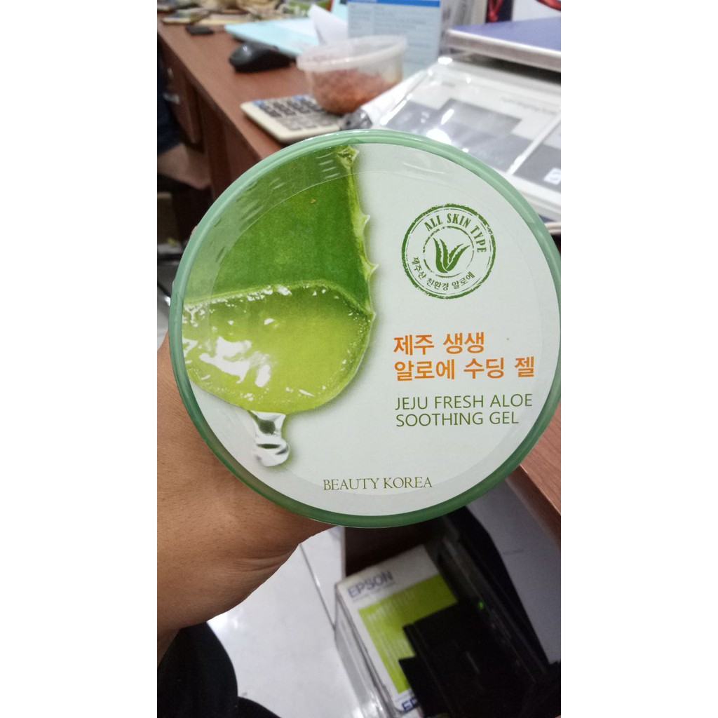 Jeju Beuty Korea Aloe Vera 92 Soothing Gel 300ml Original 100 Beauty Fresh Bpom Dan Shopee Indonesia