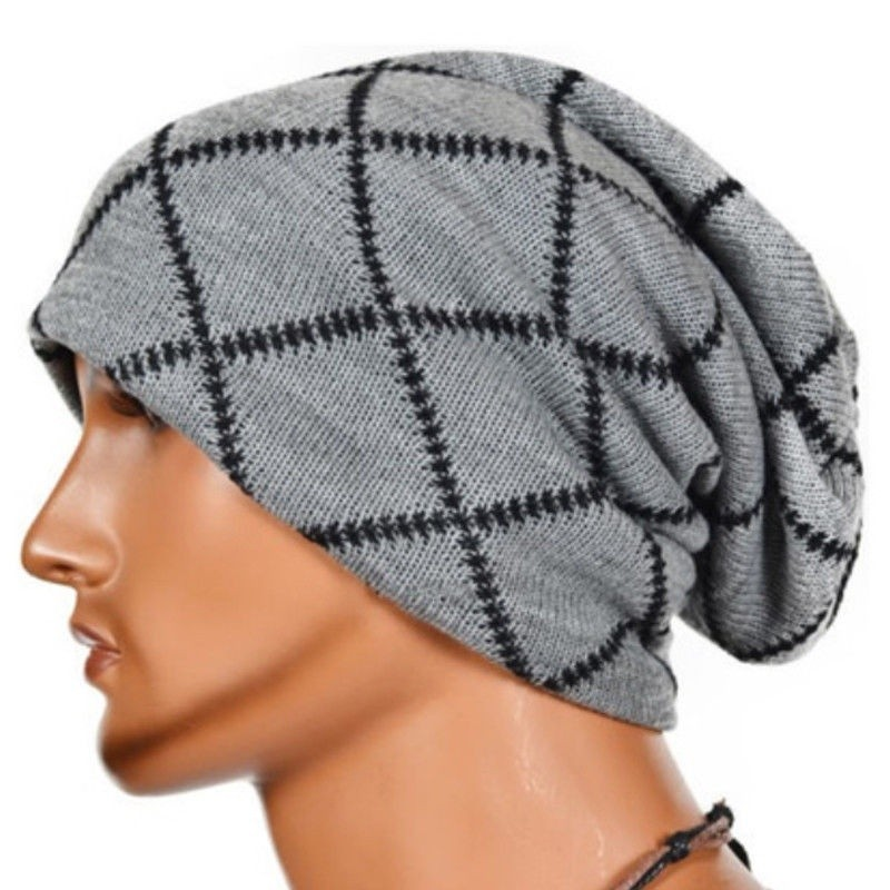 Men Knitting Slouchy Beanie Cap Baggy Winter Hat Oversize Unisex Skateboard Caps