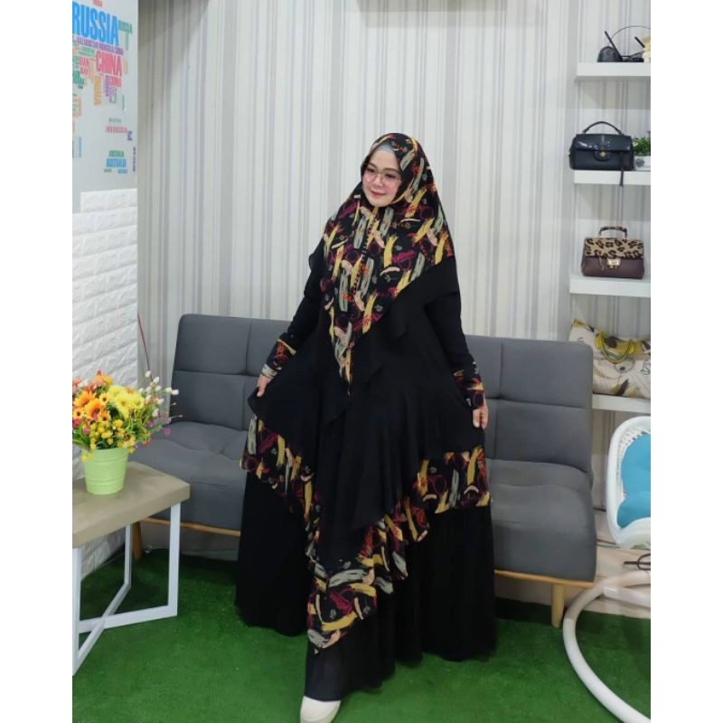 DRESS KHAYLA PRINT PREMIUM NEW SET BY YODIZEIN SYAR'I