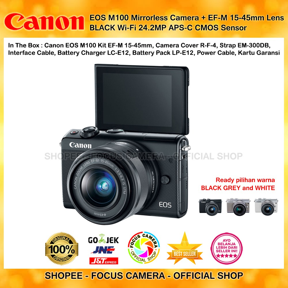 Canon Eos M10 Ef M 15 45 Is Stm White Tk Mirrorless Camera Wifi 18mp Kit 45mm 18 Mp Hitam Shopee Indonesia
