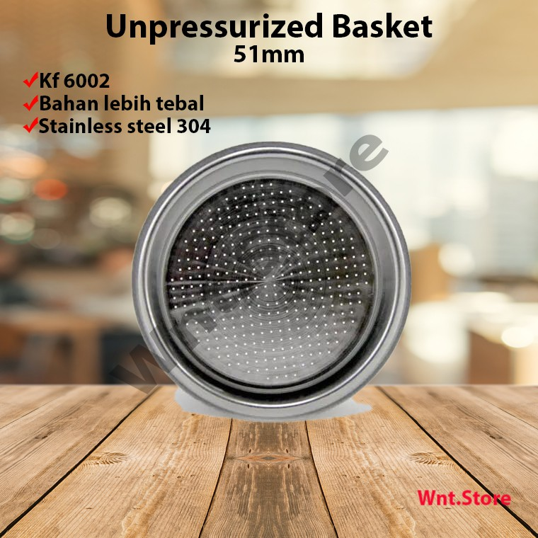 Non Pressurized Portafilter Basket 51mm for delonghi, ACA