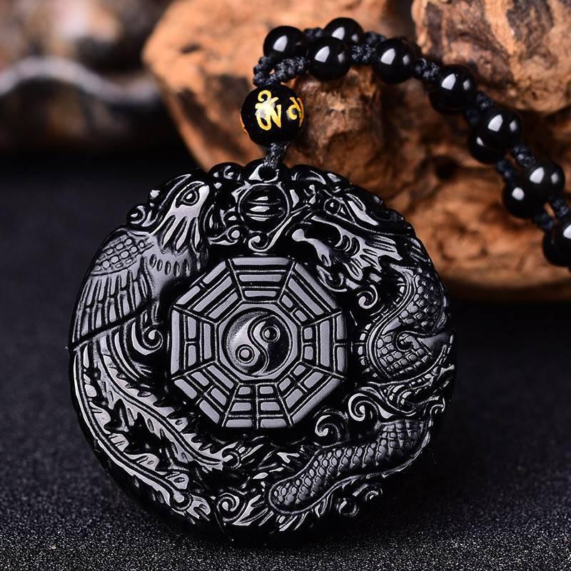 Black Obsidian Lucky Pendant Tai Ji Necklace Chain for Men Women Gift