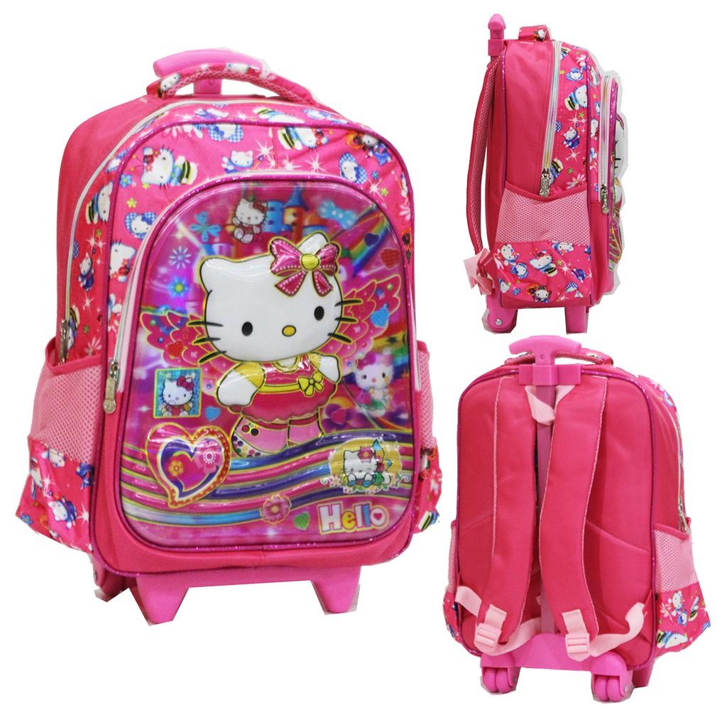 New Tas Anak Sekolah Baru - Trolley SD Import Hello Kitty 5D Timbul Hologram 2 Kantung   Shopee Indonesia