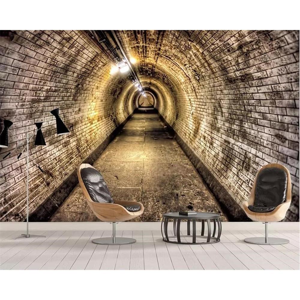 Wellyu Custom Photo Murals 3d Wallpaper Industrial Wind Cave Brick Wall Tunnel Background Wall Shopee Indonesia