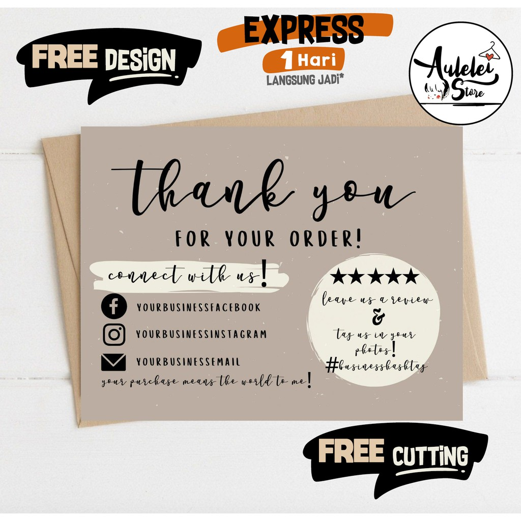 THANKYOU CARD OLSHOP CUSTOM /THANKS CARD / KARTU UCAPAN ...