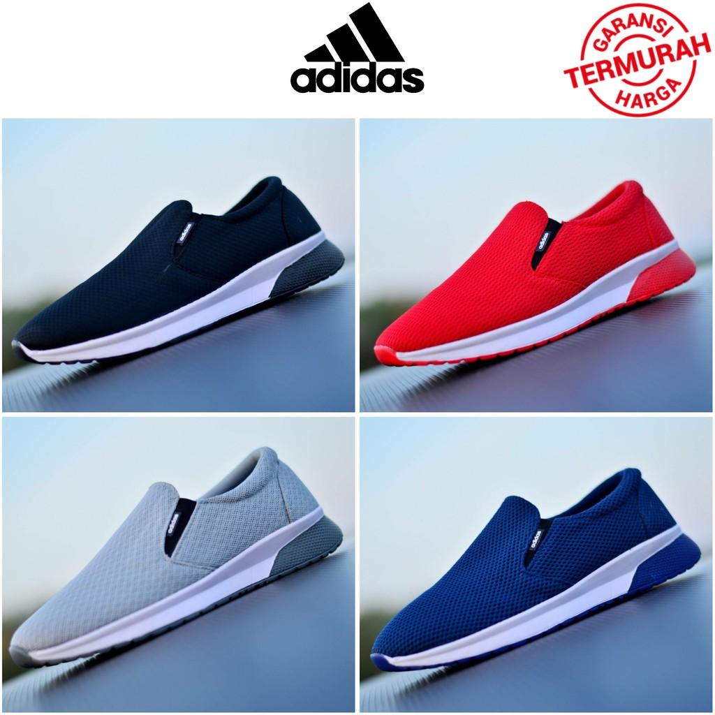 Cod Sepatu Sneakers Olahraga Casual Pria Tanpa Tali Adidas Slip