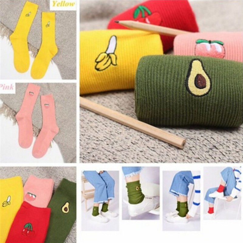 Cotton Cute Fruit Print Women/'s Socks Retro Embroidery Long Colorful Funny/'Socks