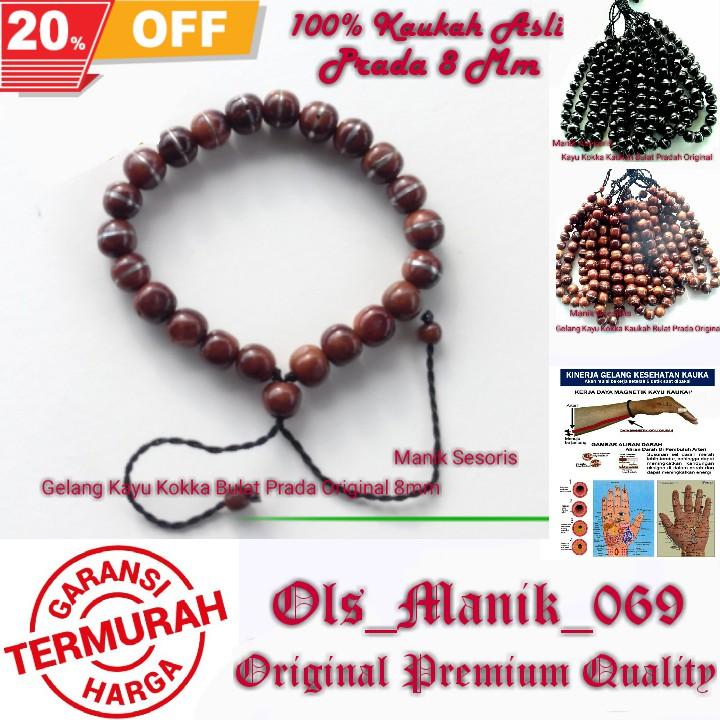 Original Gelang Kesehatan Kayu Kokka Kaukah Bulat Prada 8 Mm Import Turki  b52541467da