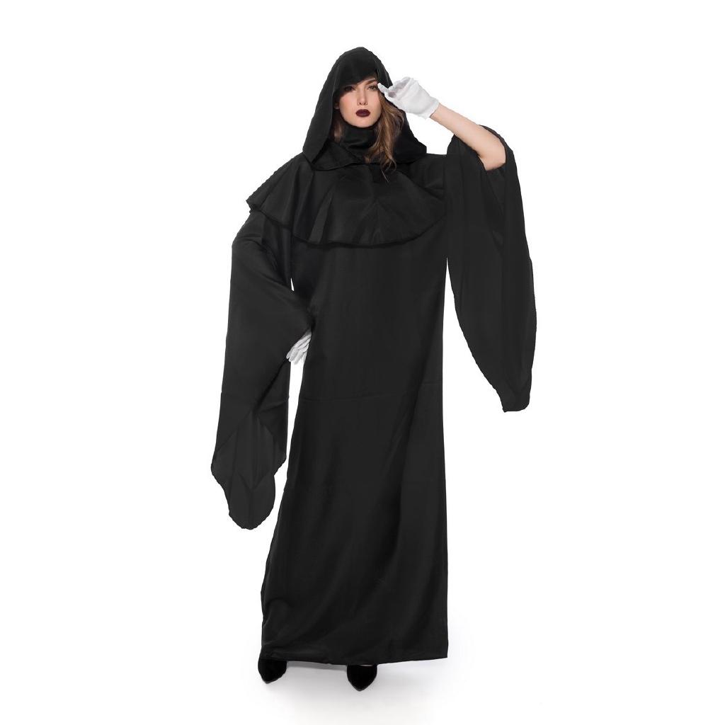 Mens Grim Reaper Phantom Of Darkness Halloween Black Robe Fancy Dress Costume