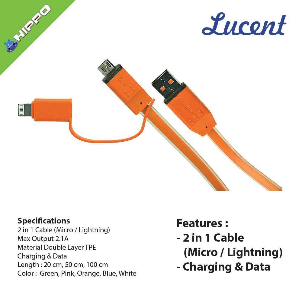 Hippo Cable Lightning Colorful Fast Charge Iphone Ipad 100cm Orange Ultron Kabel Data Charger Usb Type C 100 Cm Hitam Lucent 2 In 1 20 50 5 6