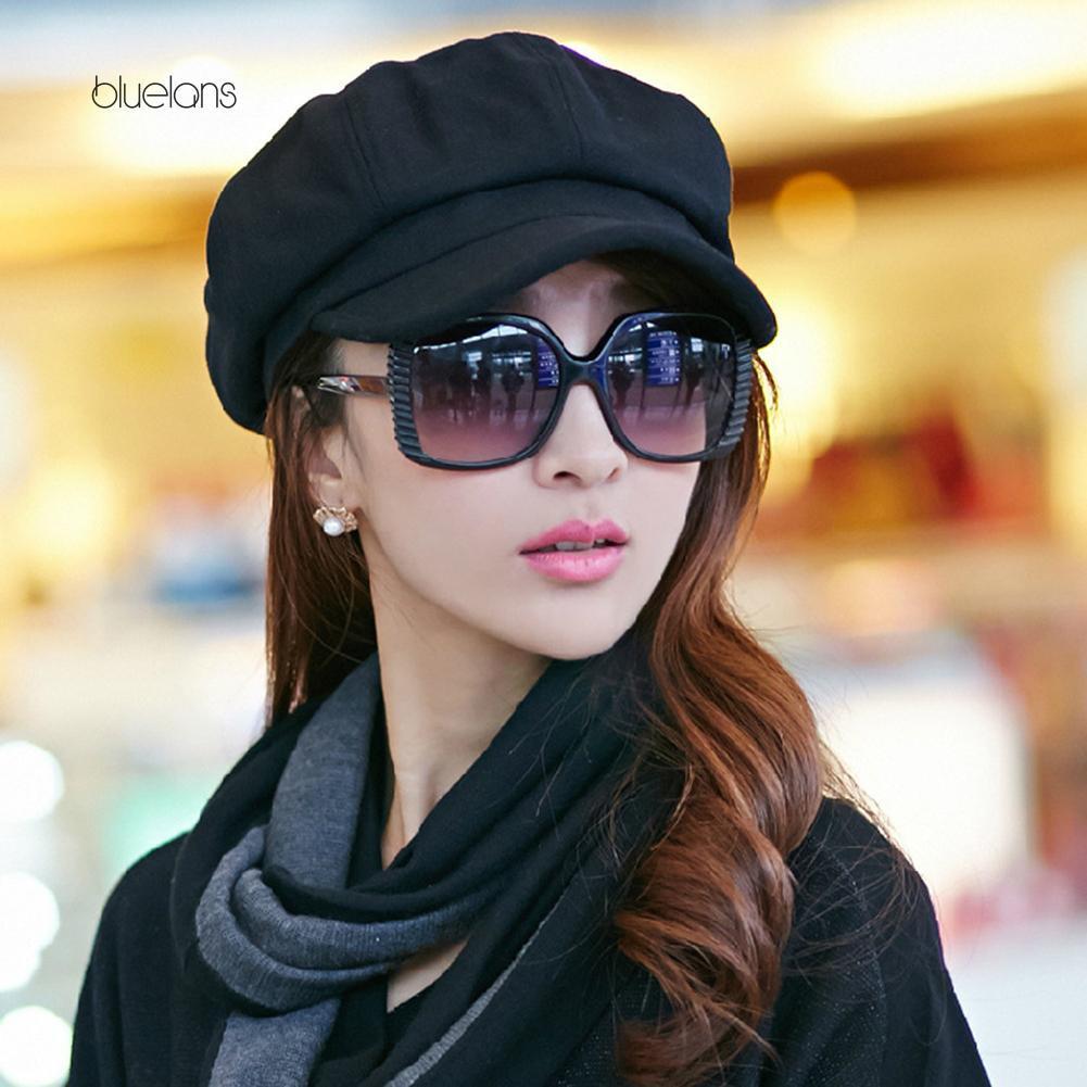 Bluelans ~Retro Autumn Winter Women Girl Faux Wool Solid Color Peaked Cap  Flat Hat Berets  80270b95a9
