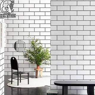 wallpaper dinding kamar murah motif bata keramik putih
