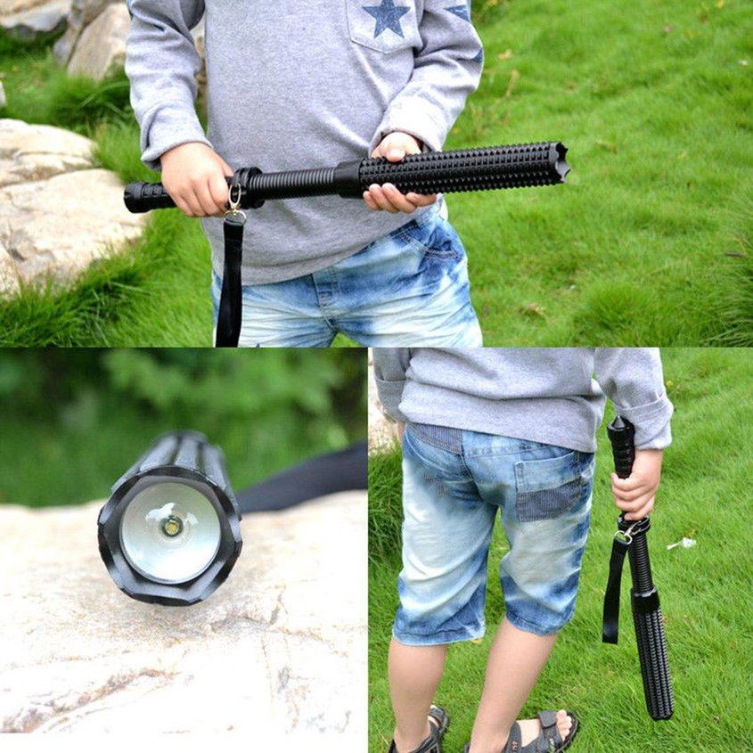 Eh Lampu Senter LED Teleskopik 3 Mode Anti Air untuk Pertahanan Diri