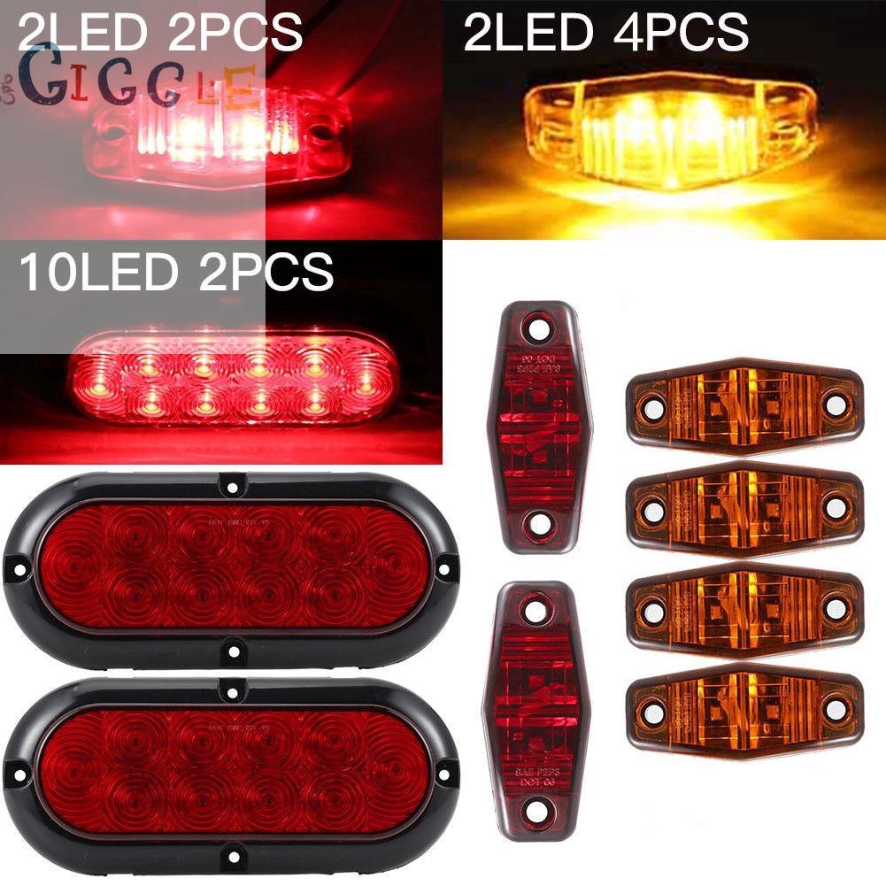 "4 Pcs 10 LED Red 6/"" Oval Kits Stop Brake Tail Light Truck Trailer Bus Van RV ATV"
