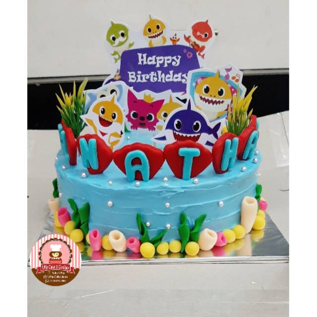 Birthday Cake Baby Shark Kue Ultah Babyshark Cake Character Kue Ulang Tahun Anak Karakter