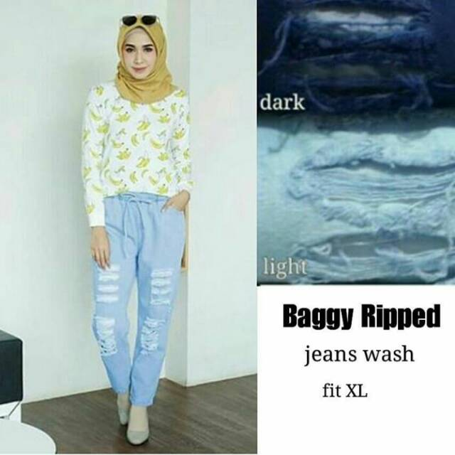 (PROMO) BAGGY RIPPED JEANS 44.000 | Shopee Indonesia