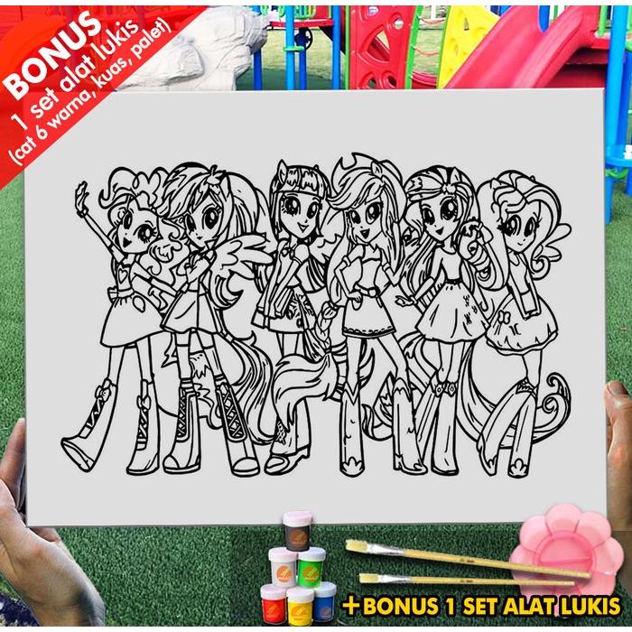 Kanvas Lukis Mainan My Little Pony Equestria Girl 30x40cm Mel1166 Mewarnai Coloring Shopee Indonesia