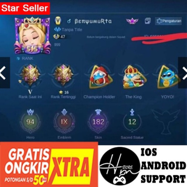 Jual Akun Ml Bb Tier Epic Skin Sultan Ios Android Ready Shopee Indonesia