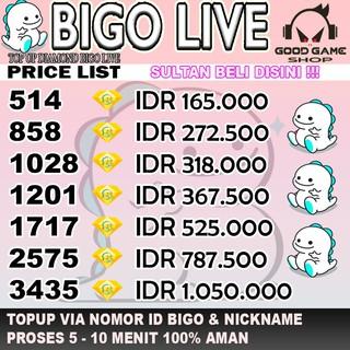 Diamond Bigo Live Via Id Murah Dm Bigo Live Murah Topup Bigo Murah Topup Diamond Bigo Murah 2 Shopee Indonesia
