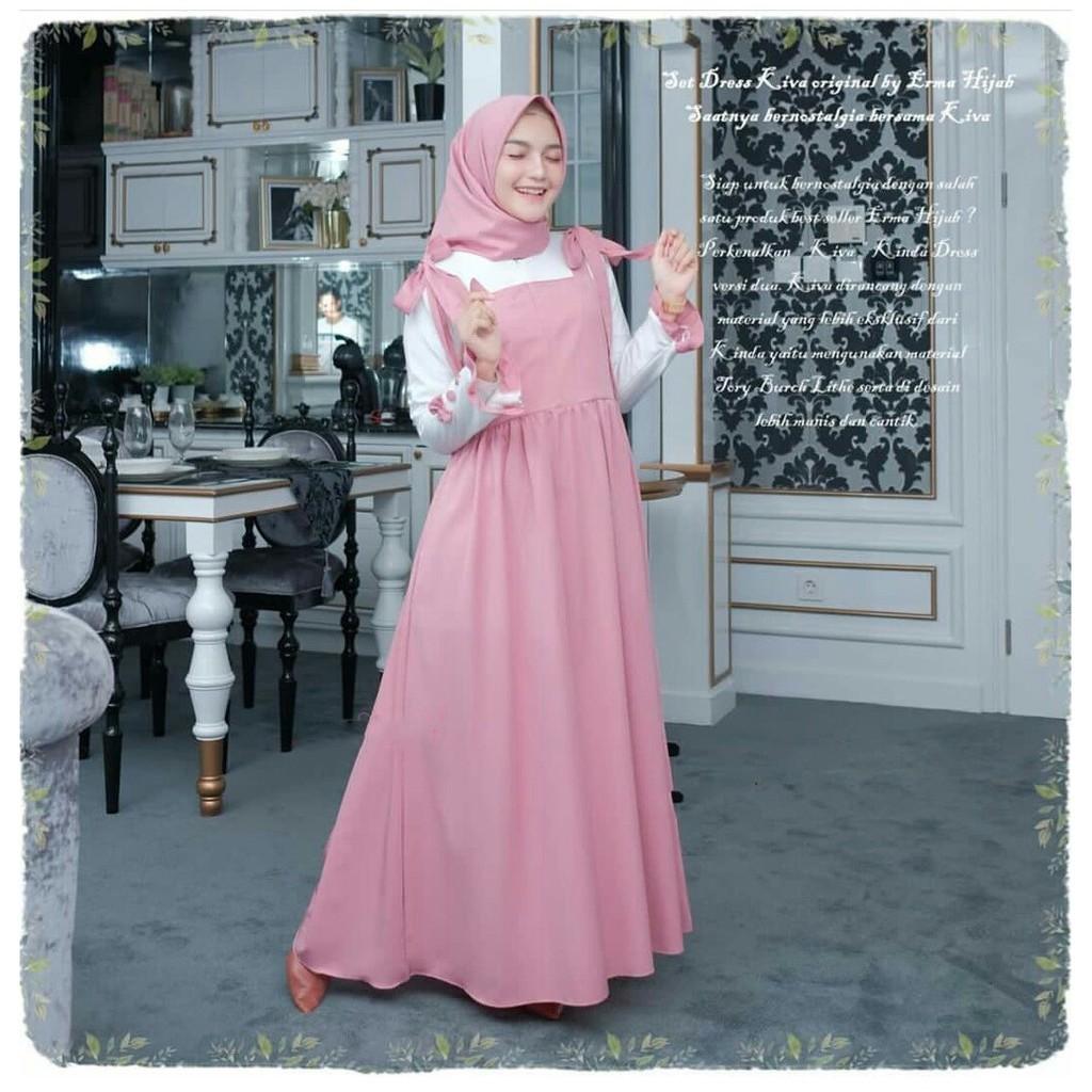 [GARANSI TERMURAH] Kiva Dress S M L XL Fashion Muslim Terlaris Gamis  Kekinian Moscrepe HQ