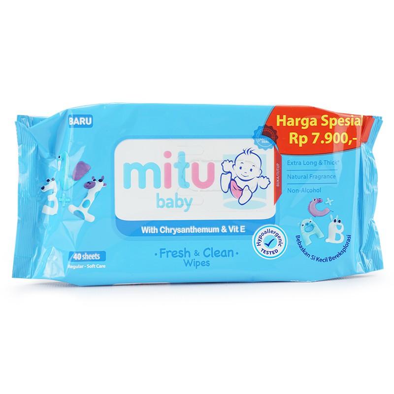 54ddf7ea0625 MITU Tissue basah baby with chamomile   Vit E Fresh   Clean Wipes 40s biru  - MTB006