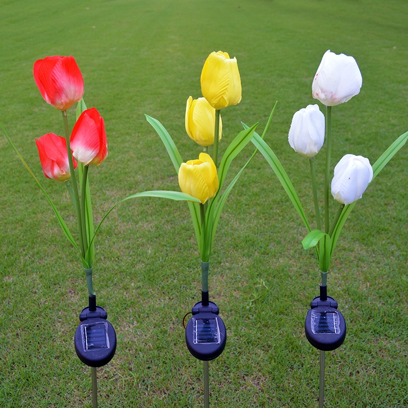 Waterproof Tulip Solar Powered Led Garden Lights 3 Led Solar Path Lights For Patio Deck Driveway Garden Christmas Party Wedding Shopee Indonesia