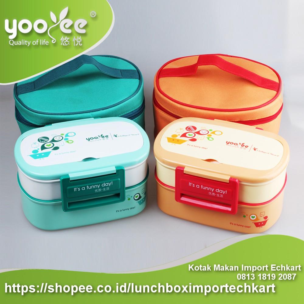 Kotak Makan Mini Yooyee Sekat 3 Lunch Box 605 New 578 Bento Bekal Anti Bocor Shopee Indonesia