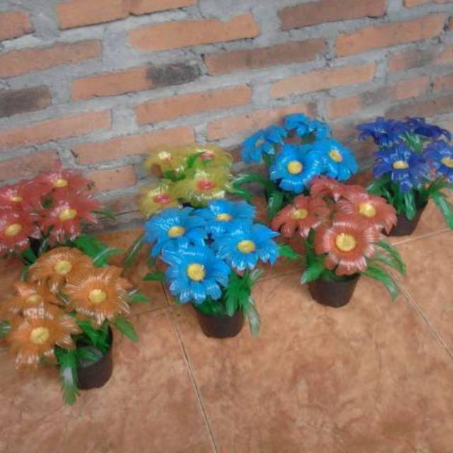 Bunga Hias Bunga Plastik Kerajinan Tangan Dari Sedotan Shopee Indonesia