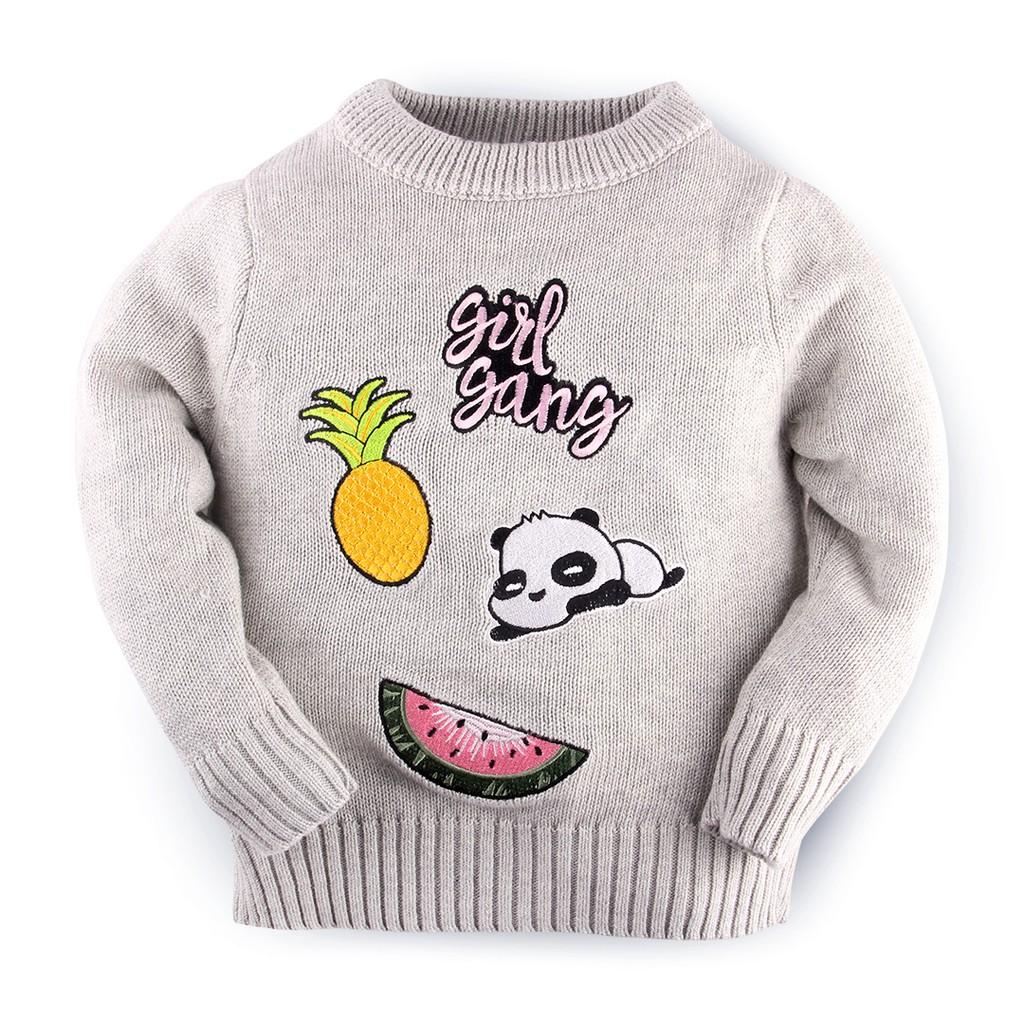 Hello Mici Baju Bayi Knitwear Little Badge Girl Grey Shopee Indonesia Setelan Kodok Panda 1125