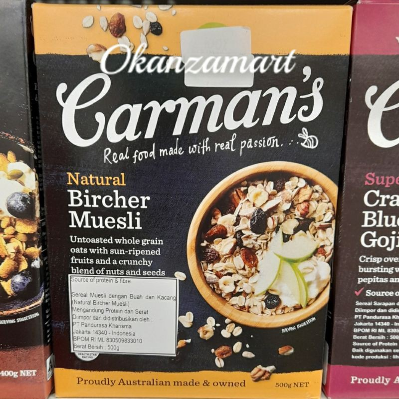 Carman S Carmans Natural Bircher Muesli Cereal 500gr Shopee Indonesia