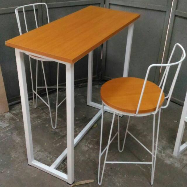 Paket 1 Set 1 Meja 2 Kursi Bar Cafe Resto Kedai Coffee Shop Minimalis Industrial Meja Kursi Makan Shopee Indonesia
