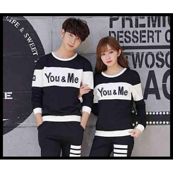 TERLARIS CP YOU ME BLACK LT SWEATER COUPLE BABYTERRY HITAM