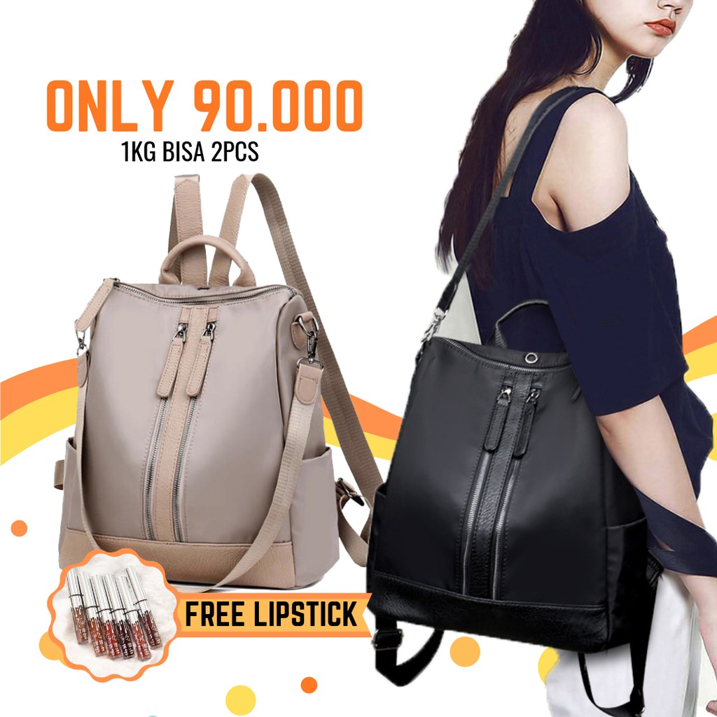 66016331e814 Promo!! TAS BACKPACK FASHION RUSELL   RUCKSACK BAG (BLACK HITAM ...