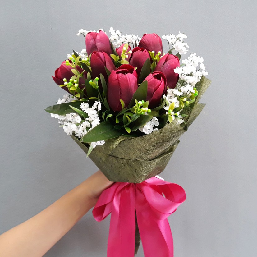 Buket Bunga Tulip Palsu Artificial Shopee Indonesia