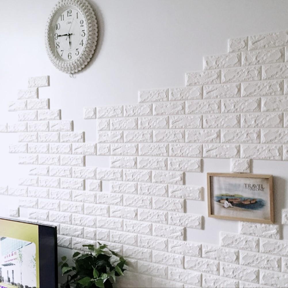 3D DIY Stiker Dinding Wallpaper Desain Batu Bata