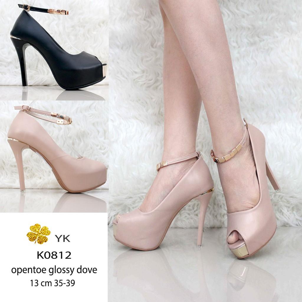 219f49683d1 YKshoes 0812 opentoe high heels 13cm 13 cm highheels ladies shoes import  sepatu wanita hitam cream