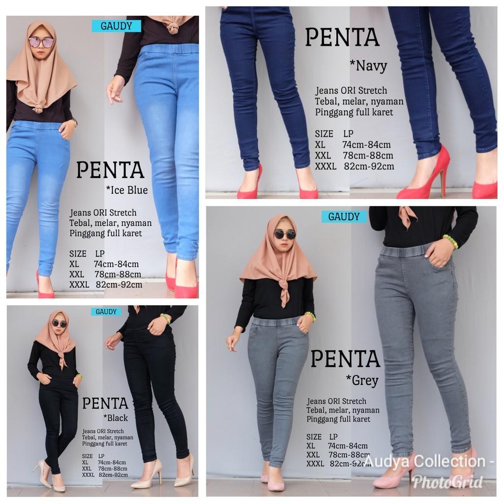 Penta Jeans Gaudy Jeans Stretch Celana Legging Jeans Wanita Pinggang Karet Shopee Indonesia