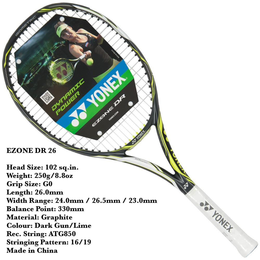 Ezone Dr 26 Junior 250 Gram Racket Tennis Yonex Ori Shopee Indonesia Bag Tenis Badminton Tas Bag9629ex Black